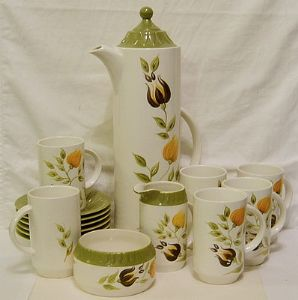Fieldings Crown Devon Flowered Coffee Set - 1960s